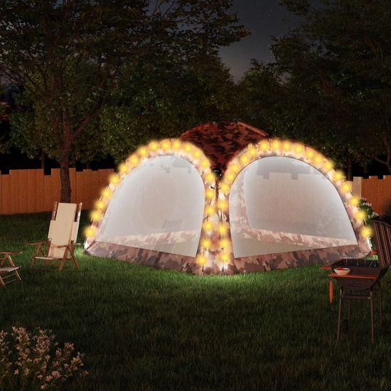 shumee terepszínű partisátor LED-del és 4 oldalfallal 3,6x3,6x2,3 m