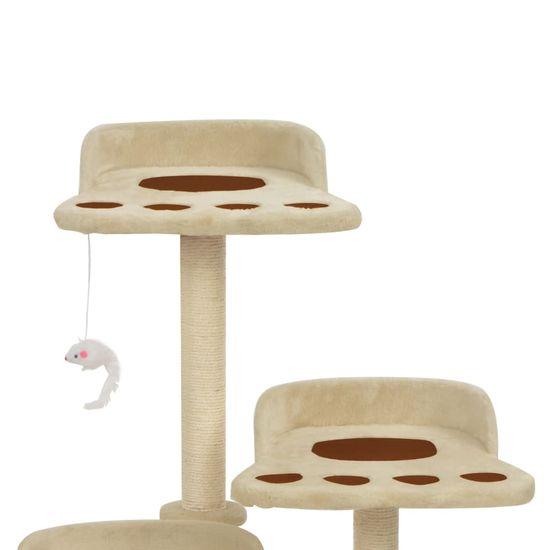 Greatstore Škrabadlo pre mačky so sisalovými stĺpikmi, béžové 90 cm