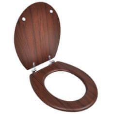 shumee WC sedadlo, poklop z MDF, jednoduchý dizajn, hnedé