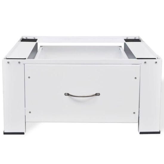 Greatstore Podstavec pod práčku so zásuvkou, biely