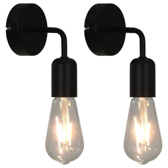 Greatstore Stenske svetilke 2 kosa črne E27