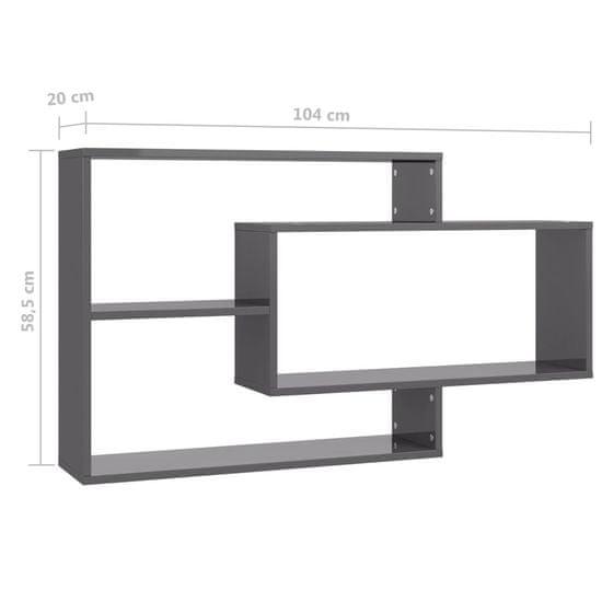 Greatstore Stenske police visok sijaj sive 104x20x60 cm iverna plošča