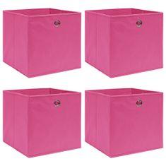 shumee Úložné boxy 4 ks ružové 32x32x32 cm látkové