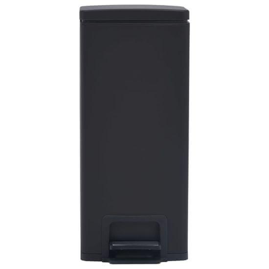 shumee Smetný kôš s pedálom proti odtlačkom prstov 30 l čierny nehrdzavejúca oceľ
