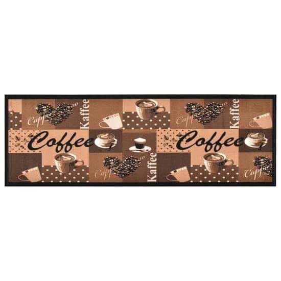 shumee barna kávémintás mosható konyhai szőnyeg 45 x 150 cm