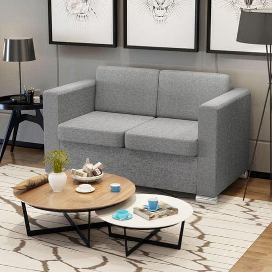 shumee 2 osobowa sofa tapicerowana jasnoszara
