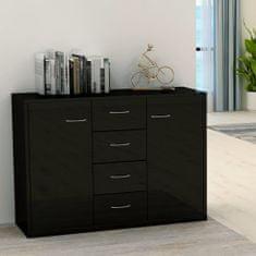 shumee Komoda, lesklá čierna 88x30x65 cm, drevotrieska