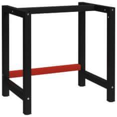 Greatstore Kovový rám pracovního stolu 80 x 57 x 79 cm černá a červená