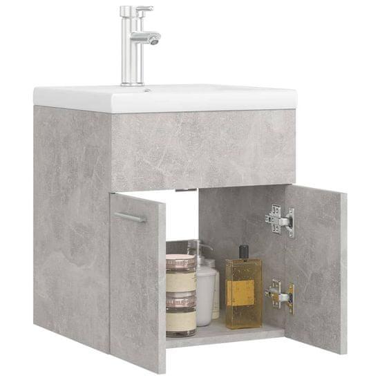 shumee Szafka z wbudowaną umywalką, szarość betonu, płyta wiórowa