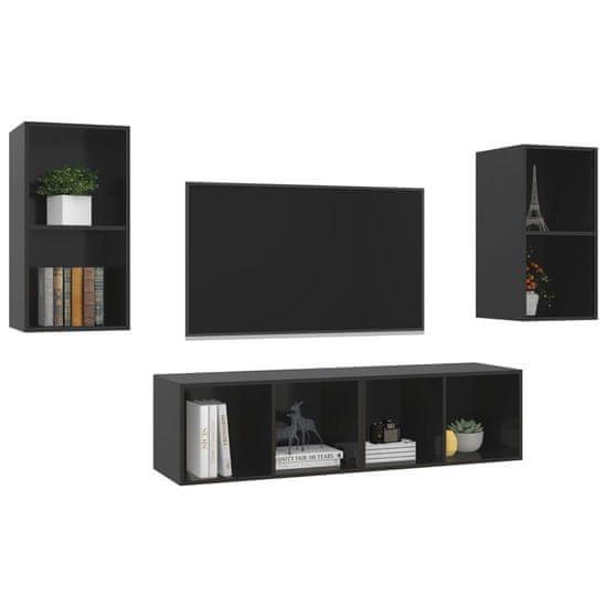 shumee 4 db magasfényű fekete forgácslap fali TV-szekrény