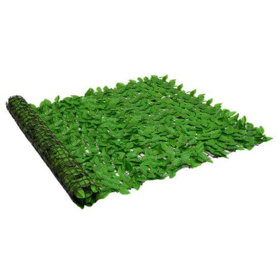 shumee zöld leveles erkélyparaván 600 x 150 cm