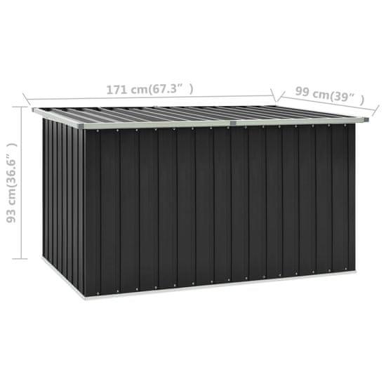 shumee antracitszürke kerti tárolóláda 171 x 99 x 93 cm